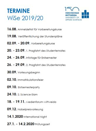 Wichtige Termine im Wintersemester 2019/2020 an der Hochschule Mittweida.